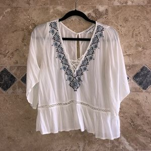 Abercrombie and Fitch White Flowy Boho Peasant Top